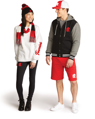 A young man and woman wearing sports apparel